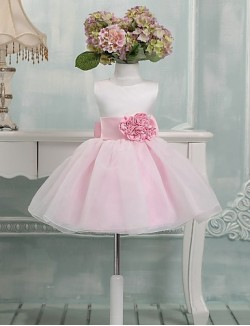Ball Gown Short Knee Length Flower Girl Dress Satin Sleeveless Jewel With Bow Flower