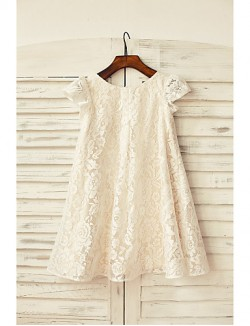 Sheath Column Short Knee Length Flower Girl Dress Lace Short Sleeve Scoop With
