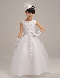 A Line Long Floor Length Flower Girl Dress Organza Satin Sleeveless Jewel With