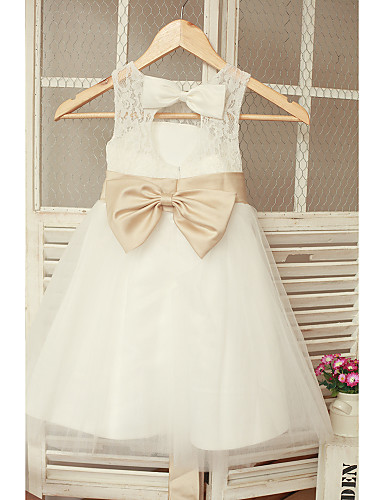 A Line Ankle Length Flower Girl Dress Lace Tulle Sleeveless Jewel With