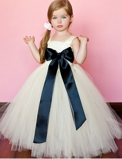 Ball Gown Ankle Length Flower Girl Dress Tulle Polyester Sleeveless Spaghetti Straps With