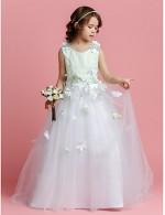 A Line Princess Sweep Brush Train Flower Girl Dress Satin Tulle Sleeveless Jewel With Beading Flower