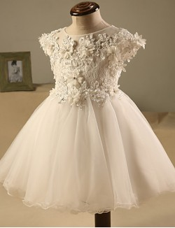 A Line Short Mini Flower Girl Dress Tulle Short Sleeve Jewel With Beading Flower Lace