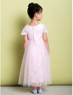 A Line Ankle Length Flower Girl Dress Lace Tulle Short Sleeve Jewel With Lace