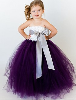 Ball Gown Ankle Length Flower Girl Dress Tulle Polyester Sleeveless Strapless With
