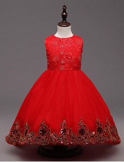 Ball Gown Sweep Brush Train Flower Girl Dress Organza Sleeveless Jewel With Bow Embroidery Sequins
