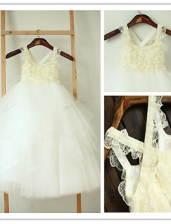 A Line Tea Length Flower Girl Dress Lace Tulle Sleeveless Spaghetti Straps With