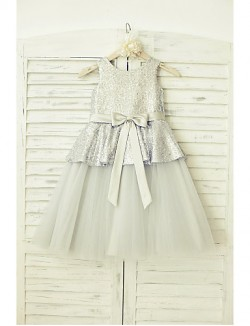 A Line Short Knee Length Flower Girl Dress Tulle Sequined Sleeveless Scoop With
