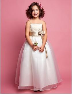 A Line Princess Long Floor Length Flower Girl Dress Organza Satin Sleeveless Spaghetti Straps WithAppliques Beading