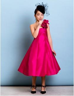 Tea Length Taffeta Junior Bridesmaid Dress A Line Princess Sexy One Shoulder With Flower Criss Cross