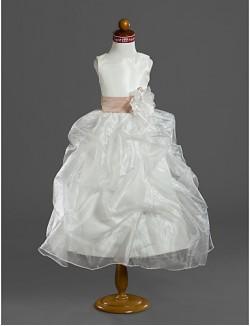 Ball Gown Tea Length Flower Girl Dress Organza Satin Sleeveless Scoop WithFlower Pick Up Skirt Ruffles Sash