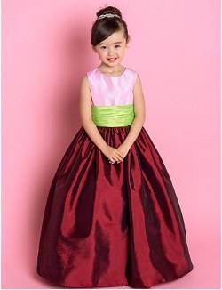 A Line Princess Long Floor Length Flower Girl Dress Taffeta Sleeveless Jewel With Ruching