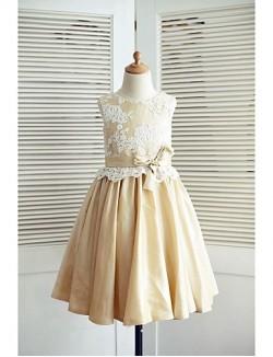 A Line Short Knee Length Flower Girl Dress Lace Taffeta Sleeveless Scoop With