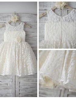 A Line Short Knee Length Flower Girl Dress Lace Satin Sleeveless Scoop With