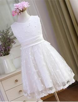A Line Short Knee Length Flower Girl Dress Lace Sleeveless V Neck With