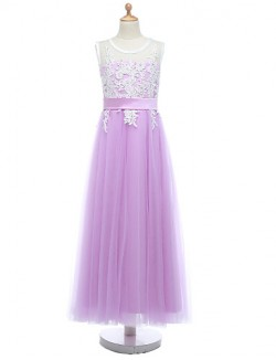 Ball Gown Long Floor Length Flower Girl Dress Lace Tulle Sleeveless Jewel With Lace Sash Ribbon