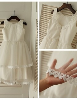 A Line Tea Length Flower Girl Dress Lace Tulle Sleeveless Scoop With