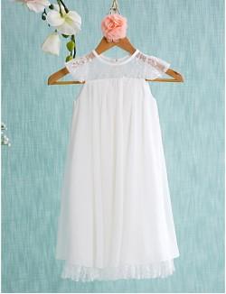 A Line Short Mini Flower Girl Dress Chiffon Sleeveless Jewel With