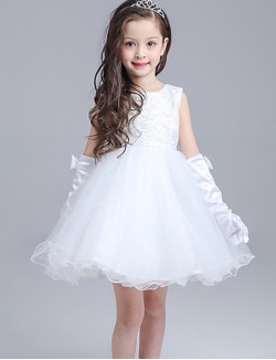 Ball Gown Short Knee Length Flower Girl Dress Lace Organza Sleeveless Jewel With Bow Lace