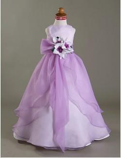 A Line Ball Gown Princess Long Floor Length Flower Girl Dress Organza Satin Sleeveless Bateau WithFlower Sash
