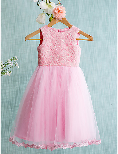 Ball Gown Short Knee Length Flower Girl Dress Lace Tulle Sleeveless Jewel With