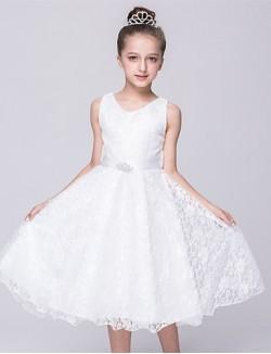 A Line Tea Length Flower Girl Dress Lace Satin Sleeveless V Neck With