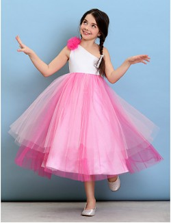 Tea Length Tulle Junior Bridesmaid Dress Ball Gown Sexy One Shoulder With Flower