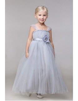 Ball Gown Ankle Length Flower Girl Dress Rayon Sleeveless Straps With
