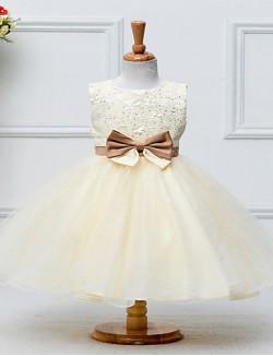 A Line Short Knee Length Flower Girl Dress Satin Tulle Sleeveless Jewel With