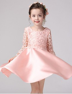 Ball Gown Short Knee Length Flower Girl Dress Lace Satin Long Sleeve Jewel With