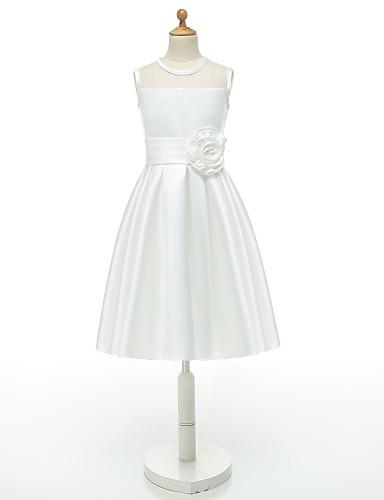 2017 Ball Gown Short Knee Length Flower Girl Dress Taffeta Sleeveless Jewel With Flower Sash Ribbon