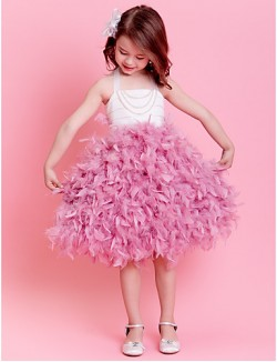 Ball Gown Tea Length Flower Girl Dress Satin Sleeveless Halter With Feathers Fur