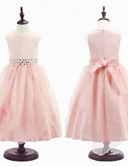 Ball Gown Tea Length Flower Girl Dress Organza Satin Sleeveless Jewel With Beading Lace