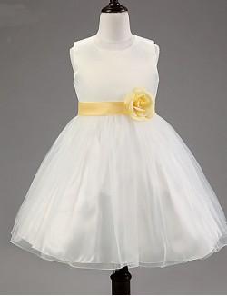 A Line Short Knee Length Flower Girl Dress Cotton Tulle Polyester Sleeveless Jewel With Flower Sash Ribbon
