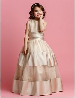 Ball Gown Long Floor Length Flower Girl Dress Organza Satin Sleeveless Jewel WithBeading Flower Sash Ribbon