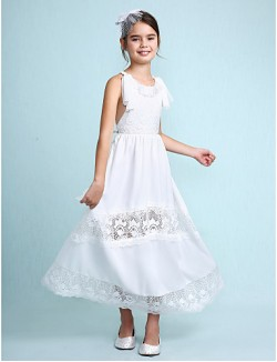 A Line Ankle Length Flower Girl Dress Chiffon Sleeveless Scoop With Lace