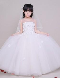 A Line Long Floor Length Flower Girl Dress Tulle Sleeveless Jewel With Flower