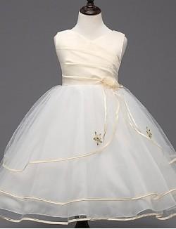 Ball Gown Short Knee Length Flower Girl Dress Lace Organza Sleeveless