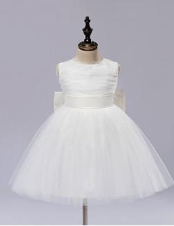 A Line Short Knee Length Flower Girl Dress Satin Tulle Sleeveless Jewel With Bow