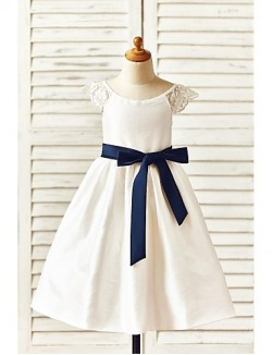 A Line Tea Length Flower Girl Dress Taffeta Short Sleeve Scoop With