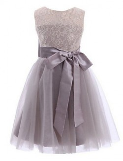 Ball Gown Tea Length Flower Girl Dress Lace Tulle Sleeveless Jewel With Bow Lace Sash Ribbon