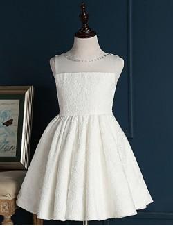 A Line Short Mini Flower Girl Dress Lace Sleeveless Jewel With