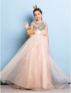 Long Floor Length Organza Sequined Junior Bridesmaid Dress A Line Jewel Natural With Flower Sash Ribbon Sequins