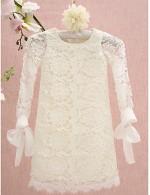 Sheath Column Short Knee Length Flower Girl Dress Lace Long Sleeve Jewel With Lace