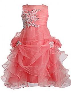 Ball Gown Tea Length Flower Girl Dress Tulle Sleeveless Jewel With Crystal Detailing Pick Up Skirt