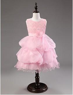 Ball Gown Short Knee Length Flower Girl Dress Cotton Organza Sleeveless Jewel With