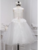 A Line Ankle Length Flower Girl Dress Lace Tulle Sleeveless Scoop With Lace