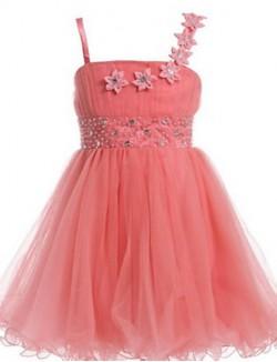 Ball Gown Short Knee Length Flower Girl Dress Tulle Sleeveless Spaghetti Straps With Beading Flower