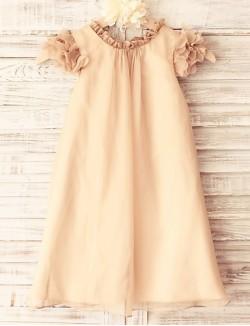 Sheath Column Short Knee Length Flower Girl Dress Chiffon Short Sleeve Scoop With