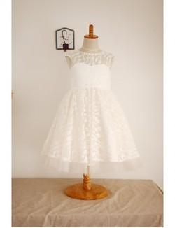 A Line Short Knee Length Flower Girl Dress Lace Tulle Sleeveless Scoop With